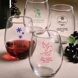 FashionCraft Personalized Holiday Designs 9oz Stemless Wine Glasses