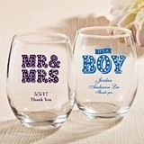 Personalized Stemless 9 Ounce Wine Glasses with Marquee Designs