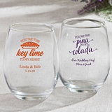 Personalized Stemless 9 Ounce Wine Glasses with Tropical Designs