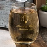 Personalized Silkscreened Monogrammed Collection 9 ounce Wine Glasses