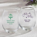 Personalized Birthday Designs 15 ounce Stemless Wine Glasses