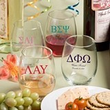 Personalized Large 15 Ounce Stemless Wine Glasses with Greek Designs