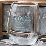 Personalized Silkscreened Monogrammed Collection 15 ounce Wine Glasses