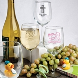 Personalized 12 Ounce Alto Wine Goblets with Baby Shower Designs