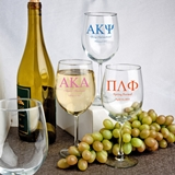 Personalized 12 Ounce Alto Wine Goblets with Greek Life Designs
