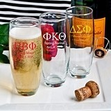 Personalized Silkscreened Stemless Champagne Flutes with Greek Designs