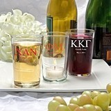 Silkscreened Collection Personalized Bistro Glasses with Greek Designs