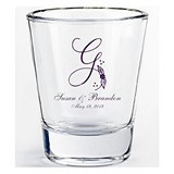 Silkscreened Glassware Collection Monogrammed Flared Shot Glasses