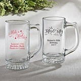Silkscreened Collection Personalized Beer Mug with Birthday Designs