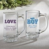 Silkscreened Collection Personalized Glass Beer Mug w/ Marquee Designs