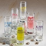 Silkscreened Glassware Personalized Greek Designs Shooter Glasses