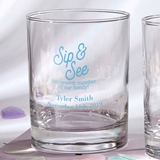 Silkscreened Glassware Personalized 13oz Rocks Glasses (Baby Shower)