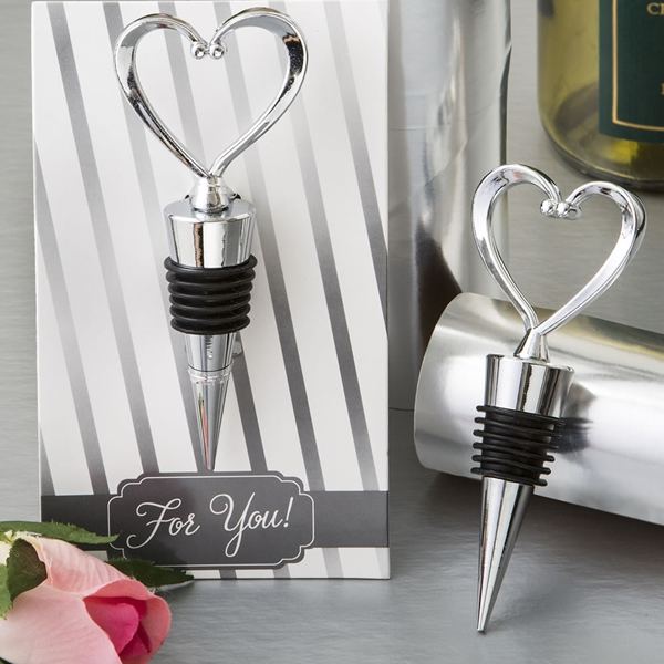 FashionCraft All Silvered-Metal Heart-Topped Wine Bottle Stopper