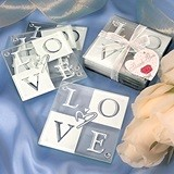 FashionCraft Stacked LOVE Design Glass Coasters (Set of 4)