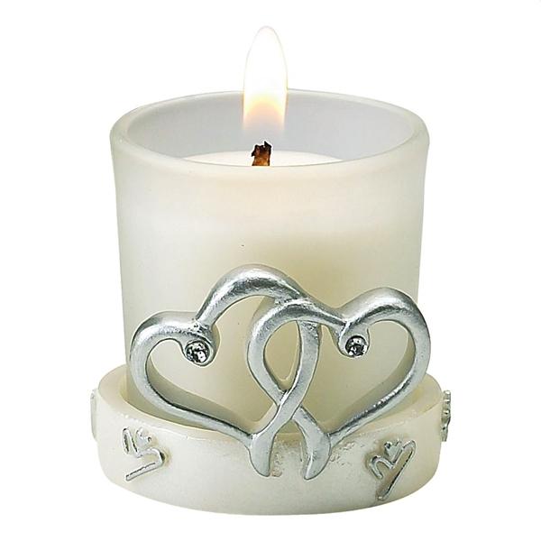 FashionCraft Interlocking Silver Heart Design Candle Holder