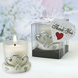 FashionCraft Interlocking Silver Heart Design Candle Holder