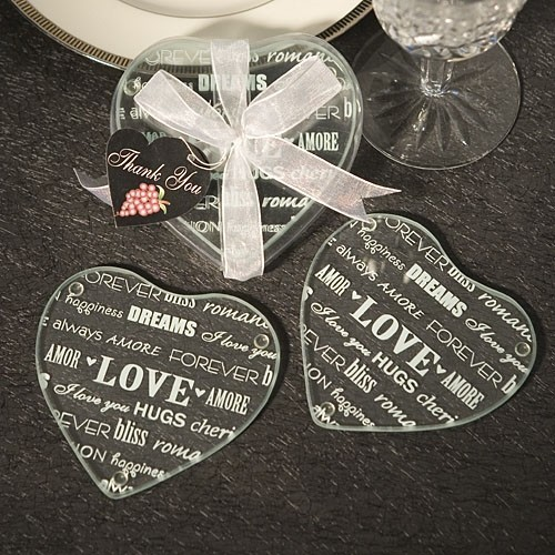 FashionCraft Heart Design Glass Coasters (Set of 2)