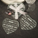 FashionCraft Heart Design Glass Coasters (Set of 2)