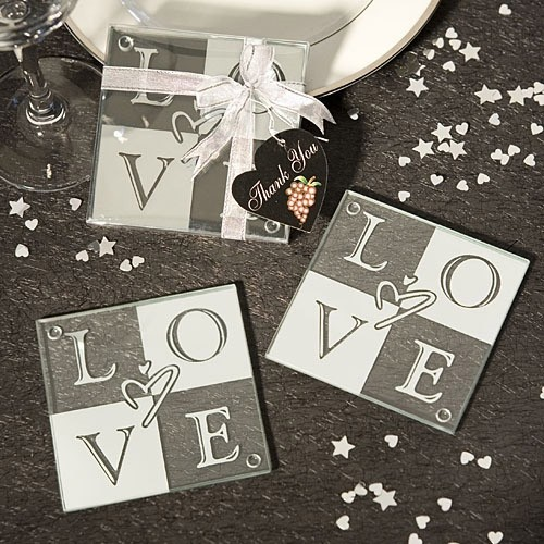 FashionCraft Love Glass Coasters (Set of 2)