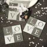 FashionCraft Love Glass Coasters (Set of 2)