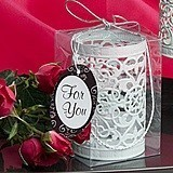 FashionCraft White Metal Filigree Design Luminary with Braided Handle