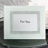 Sparkling White Frosted Glass Frame/Placecard Holder with Rhinestones