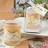 FashionCraft Vintage Map Design Travel Themed Frost Glass Votive