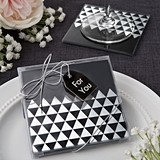 FashionCraft Silver Metallic Triangle Design Glass Coasters (Set of 2)