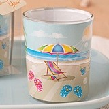 FashionCraft Beach Themed Scene Glass Votive Holder
