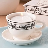 Tea-Time Cream-Colored Ceramic Tea Cup & Saucer Tealight Candle Holder