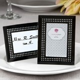 Black Frosted Glass Frame/Place Card Holder with Inlaid Inner Border