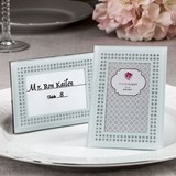 White Frosted Glass Frame/Place Card Holder with Inlaid Inner Border