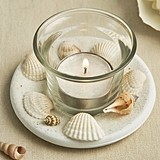 Beach Themed Votive Candle with Natural Shells