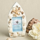 FashionCraft Beach Themed Boat Shaped Frame with Natural Sea Shells