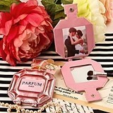 Paris Themed Pink Leatherette 'Parfum' Pocket Mirror/Picture Holder