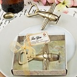 FashonCraft Brass Colored Metal Vintage Airplane Shaped Bottle Opener