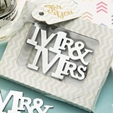 FashionCraft On-Trend Mr & Mrs Silver Metal Bottle Opener
