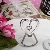 Heart-Shaped Silver-Metal Bottle Opener with Dangling Heart Charm