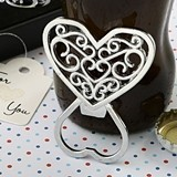 FashionCraft Filigree Design Heart-Shaped Chrome Bottle Opener