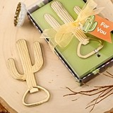 FashionCraft Gold-Plated-Metal Cactus-Shaped Bottle Opener