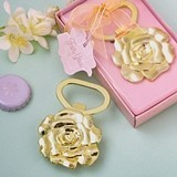 FashionCraft Rose Design Champagne Gold Colored Metal Bottle Opener