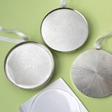 Perfectly Plain Collection Silver Metal Round Ornament with Epoxy Dome