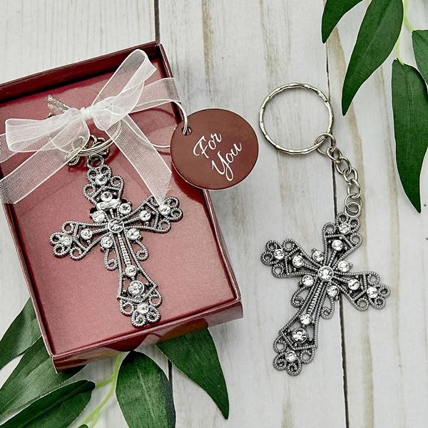FashionCraft Silver Cross with Inlaid Rhinestones Key Chain