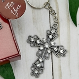 FashionCraft Silver Cross with Inlaid Rhinestones Key Chain