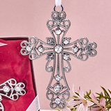 FashionCraft Silver Cross Ornament with Inlaid Rhinestones