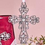 FashionCraft Silver Cross Ornament with Inlaid Rhinestones