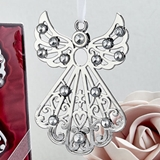 FashionCraft Silver Angel Ornament with Inlaid Rhinestones