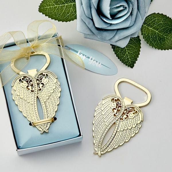 FashionCraft Gold-Colored Cast-Metal Angel Wings Bottle Opener