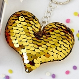 FashionCraft Reversible Gold/Silver Sequins Heart Key Chain