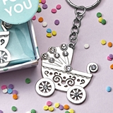 FashionCraft Oh Baby Design Silver-Metal Baby Carriage Key Chain